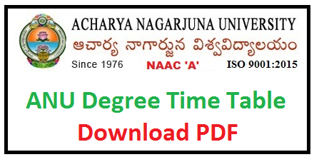ANU degree Time Table 2019 Acharya Nagarjuna University UG PG Exam Date Sheet Download