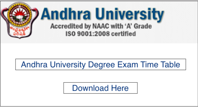 Andhra University Exam Time Table 2019 – AU Degree BA, B.Sc, B.Com Date Sheet 2019 PDF Download