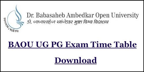 BAOU Time Table 2019 Download baou.edu.in B.A B.Com B.Sc M.A Exam Date Sheet 2019