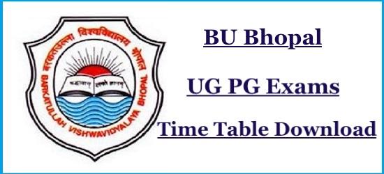 BU Bhopal Time Table 2019 Barkatullah University Date Sheet 2019 Download