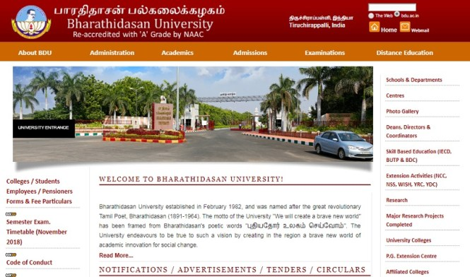 Bharathidasan University Time Table 2019 -bdu.ac.in BA BSC BCOM Exam Date Sheet 2018-2019