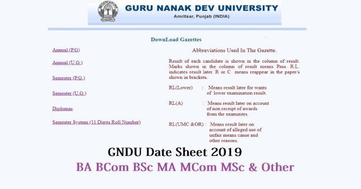 GNDU Exam Date sheet 2019 Guru Nanak Dev University Amritsar BA BSC BCOM Exam Time Table 2019