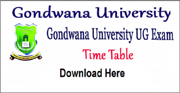 Gondwana University Time Table 2019 Winter, GUG Gadchiroli Exam Date sheet 2019