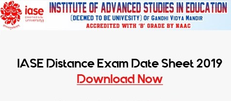 IASE Distance Exam Date Sheet 2019 Download IASE Diploma BA B.Com BCA Exam Time table