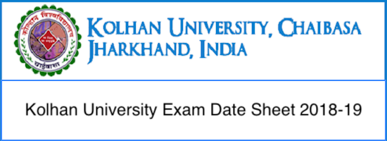 Kolhan University time table 2019