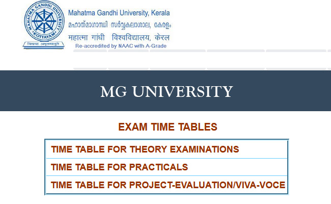 MG University Exam Time Table 2019 – www.mgu.ac.in Exam Notification 2019