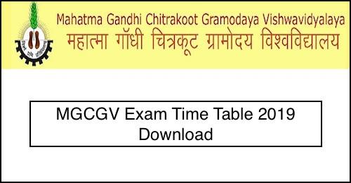 MGCGV Time Table 2019 Mahatma Gandhi Chitrakoot Gramodaya Vishwavidyalaya Exam Date