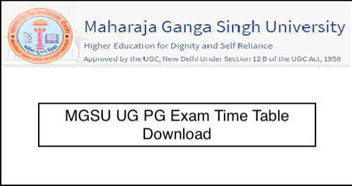 MGSU Time Table 2019 Download, Bikaner University BA/BSC/BCOM Exam Dates 2019