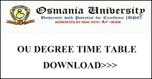 OU Degree Time Table 2019 BA B.Sc B.Com Osmania University 1st 2nd Final Year Exam Schedule