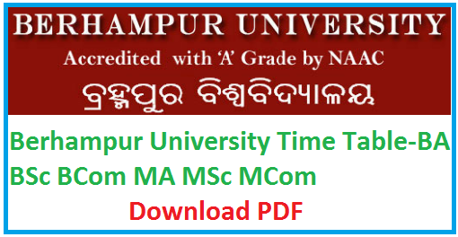 Berhampur University Time Table 2019, BU Odisha BA BSc BCom +3 Exam Schedule 2019 Download Pdf