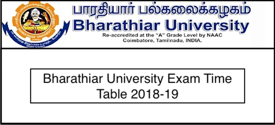 Bharathiar University Time Table 2019 UG PG Sem Exam Date Sheet 2019
