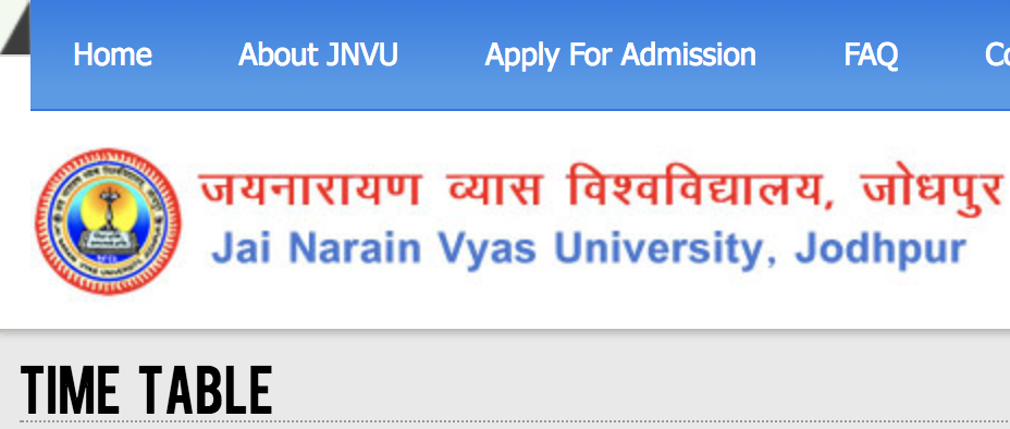 JNVU Time Table 2019 JNVU Jodhpur BA BSc BCom Exam Date Sheet Download