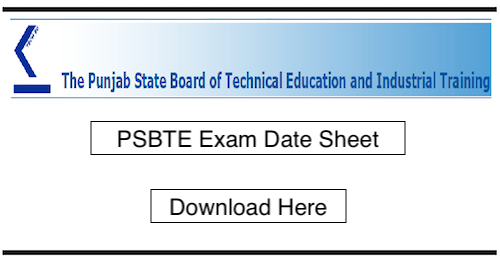 Punjabteched Date Sheet 2019, PSBTE diploma 2nd 4th 6th Sem Exam time table PDF