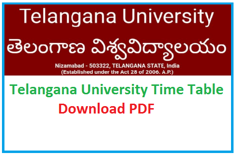 Telangana University Degree Time Table 2020 Download TU Degree exam date sheet 2020