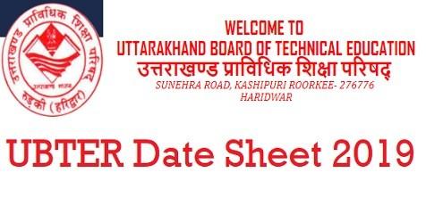 UBTER Polytechnic Date Sheet 2019 Summer Uttarakhand Polytechnic 2nd, 4th, 6th Exam Schedule
