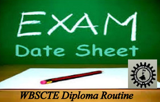 WBSCTE Diploma Routine 2019 2nd/4th/6th Semester Time Table Download