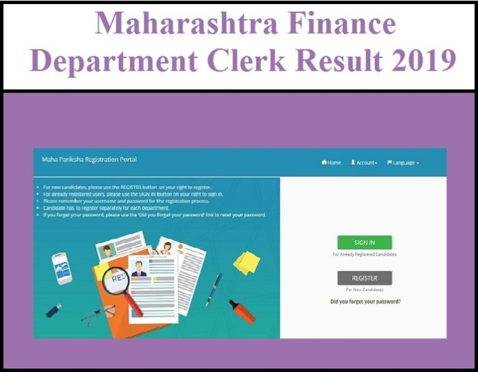 Maharashtra Finance Department Clerk Result 2019 Account result download here